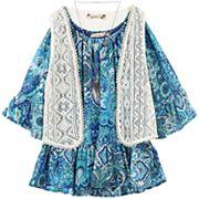 Girls 7-16 Speechless Crochet Vest & Chiffon Flounce Top with Necklace