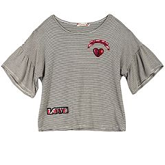Girls 7-16 Speechless Bell Sleeve Patch Top
