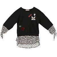 Girls 7-16 Speechless Patterned Hem Embroidered Patch Mock-Layered Tee