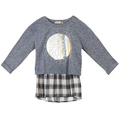 Girls 7-16 Speechless Mock-Layered Plaid Hem Tee
