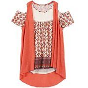 Girls 7-16 Speechless Slubbed Vest & Lace Yoke Cold Shoulder Top