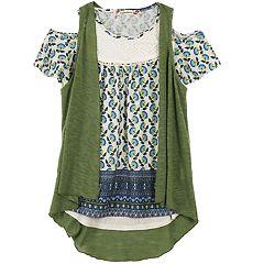 Girls 7-16 Speechless Slubbed Vest & Lace Yoke Cold Shoulder Top