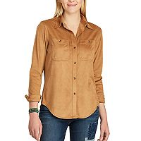Women's Chaps Faux-Suede Work Shirt