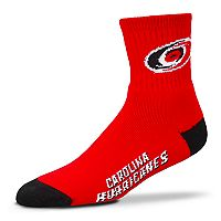 Adult For Bare Feet Carolina Hurricanes Team Color Quarter-Crew Socks