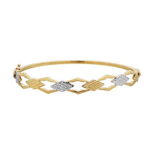 Everlasting Gold Two Tone 10k Gold Geometric Bangle Bracelet