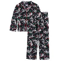 Boys 4-10 Dinosaur Christmas Light 2-Piece Pajama Set