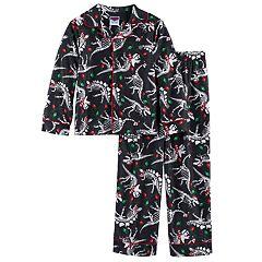Boys 4-10 Dinosaur Christmas Light 2 pc Pajama Set