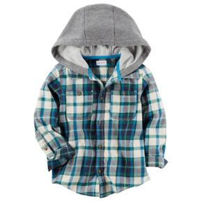 Boys 4-7 Carter's Hooded Plaid Flannel Shirt