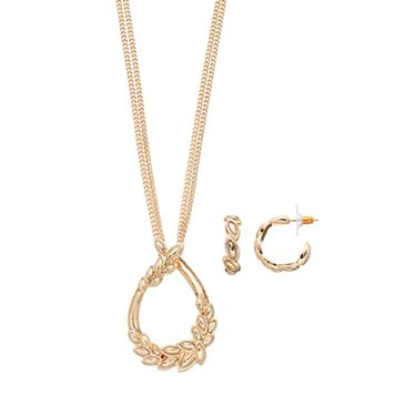 Napier Vine Teardrop Pendant Necklace & Hoop Earring Set