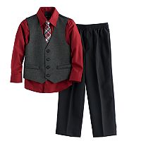 Boys 4-12 Van Heusen Sharkskin 4 pc Vest Set