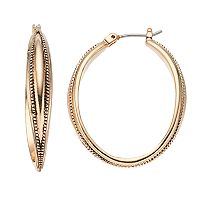 Napier Beaded Texture Oval Hoop Earrings
