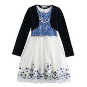 Girls 7-16 Knitworks Velvet Shrug & Lace Skater Dress Set with Necklace