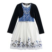 Girls 7-16 Knitworks Velvet Shrug & Lace Skater Dress Set with Necklace