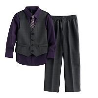 Boys 4-7 Van Heusen Glen Plaid 4-Piece Vest Set