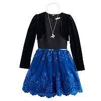 Girls 7-16 Knitworks Velvet Shrug & Embroidered Lace Skirt Dress Set with Necklace