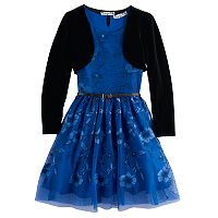 Girls 7-16 Knitworks Embroidered Floral Skater Dress With Shrug