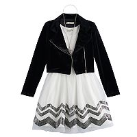 Girls 7-16 Knitworks Velvet Moto Jacket & Chevron Dress Set with Necklace