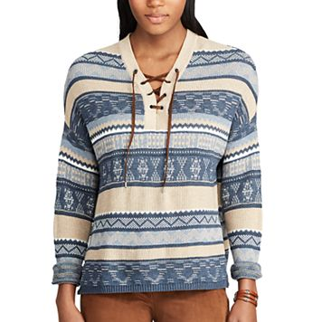 Women's Chaps Striped Lace-Up Sweater