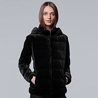Women's Simply Vera Vera Wang Velvet Puffer Jacket