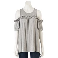 Women's LC Lauren Conrad Ruffle Cold-Shoulder Top