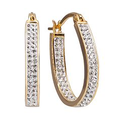 Chrystina Gold Tone Crystal Inside Out U Hoop Earrings