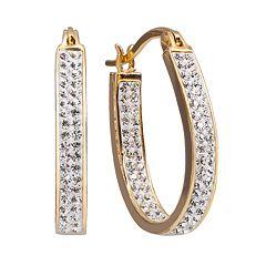 Chrystina Gold Tone Crystal Inside Out U Hoop Earrings