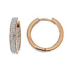 Chrystina Gold Tone Crystal Inside Out Hoop Earrings