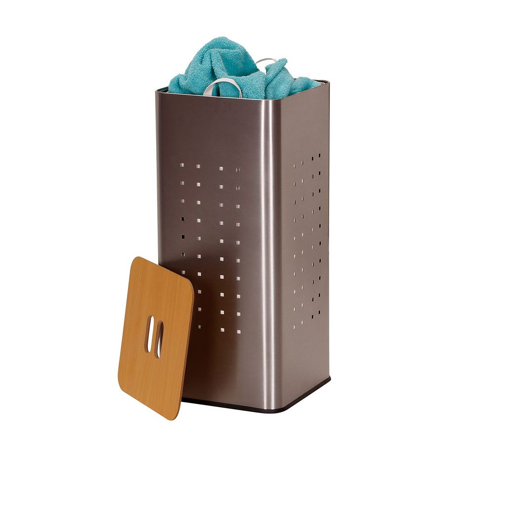Household Essentials Square Brushed Stainless Laundry Hamper
