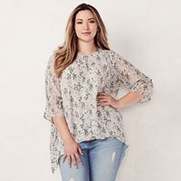 Plus Size LC Lauren Conrad Pintuck Shark-Bite Top