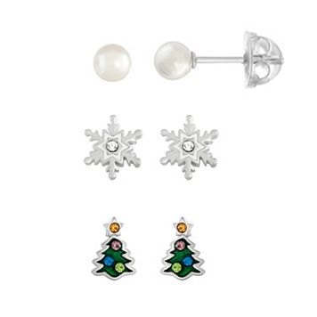 Lulabelle Kids' Cubic Zirconia Snowflake, Christmas Tree & Shell Pearl Stud Earring Set