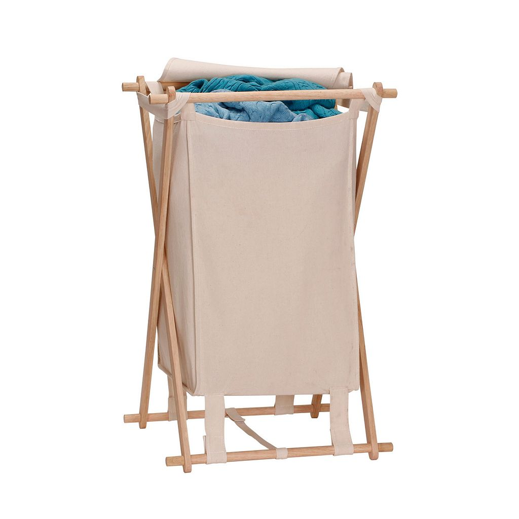 Household Essentials Wood X-Frame Laundry Hamper