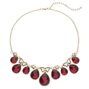 Napier Red Faceted Teardrop Necklace