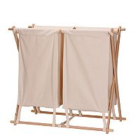 Household Essentials Wood X-Frame Laundry Sorter