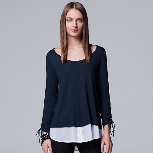 Petite Simply Vera Vera Wang Drawstring Mock-Layer Top