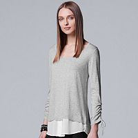 Women's Simply Vera Vera Wang Drawstring Mock-Layer Top