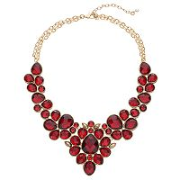 Napier Red Faceted Geometric Statement Necklace