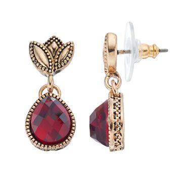 Napier Red Teardrop Earrings