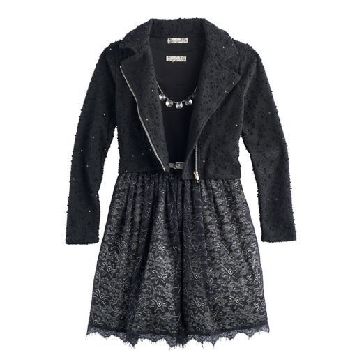 Girls 7-16 Knitworks Swiss Dot Sequin Moto Jacket & Lace Skirt Dress Set with Necklace
