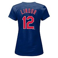 Plus Size Majestic Cleveland Indians Francisco Lindor Player Name and Number Tee