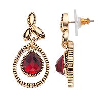 Napier Textured Orbital Red Teardrop Earrings