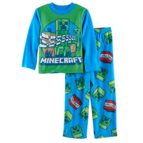 Boys 6-10 Minecraft Creeper 2-Piece Fleece Pajama Set