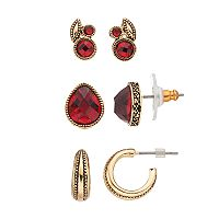 Napier Red Stone Cluster, Teardrop & Hoop Earring Set