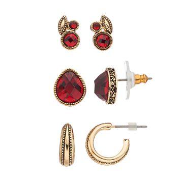 Napier Red Stone Cluster, Teardrop & Hoop Earring Set