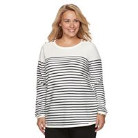 Plus Size Croft & Barrow® Button Shoulder Sweater
