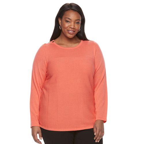 Plus Size Croft & Barrow® Button Shoulder Sweater