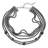 Napier Black Beaded Multi Strand Choker Necklace
