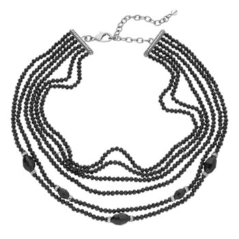 Napier Black Beaded Multi Strand Choker Necklace