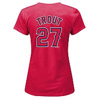 Plus Size Majestic Los Angeles Angels of Anaheim Mike Trout Player Name and Number Tee