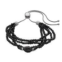 Napier Cubic Zirconia Black Beaded Multi Strand Lariat Bracelet