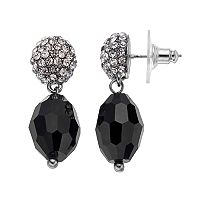 Napier Black Beaded Fireball Dome Nickel Free Drop Earrings